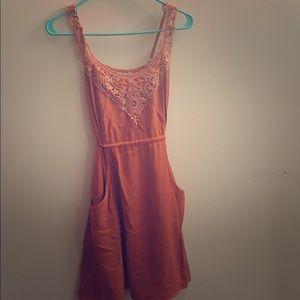 Boho orange dress with pockets
